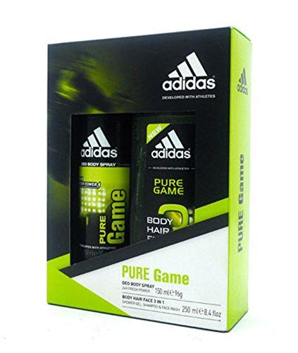 Adidas Weihnachten Geschenk-Set Pure Game Körper Haar Gesicht 3in1–Body Spray 150ml & Shower Gel, Shampoo & Face Wash 250ml