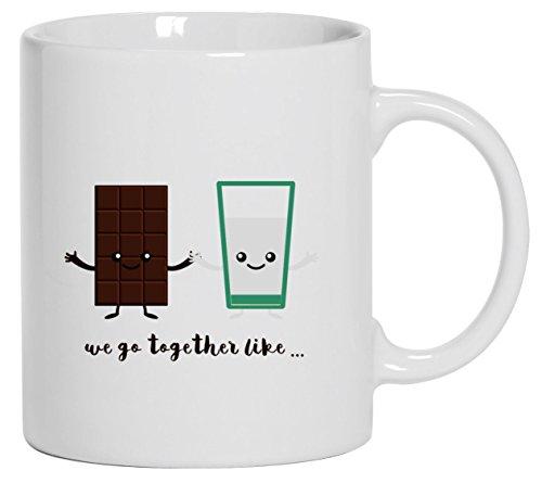 Valentinstag Kaffeetasse Kaffeebecher mit Chocolate + Milk Motiv von ShirtStreet, Größe: onesize,Weiß