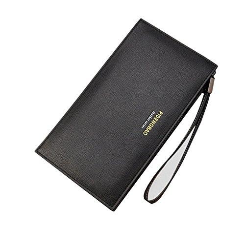 Wewod Mode Herren lange Brieftasche Geldbeutel Geldbörse Portemonnaie mit Handy RV-Taschen und Münzgeldfach ca. 21*11.5*2.5 cm Schwarz
