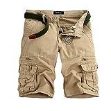 GreatestPAK Pants Pure Color Shorts Herren Outdoor Taschen Strand Arbeit Hosen Cargo Pant (40(XXXL), Beige)