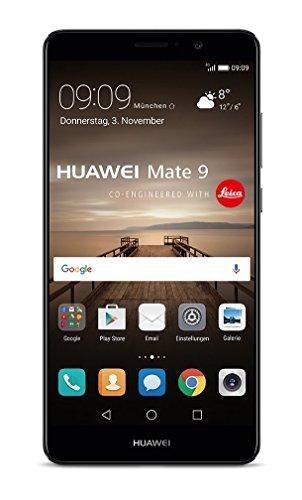 Huawei Mate 9 (14,9 cm (5,9 Zoll), 64GB, 12 Megapixel Kamera, Android 7.0) Schwarz - Prepaid-handy-chip