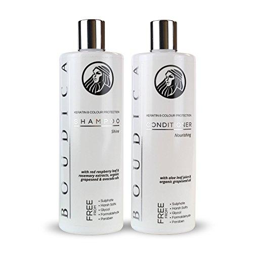 Boudica Shampoo illuminante, Senza Solfati, con keratina - 500ml e Boudica Balsamo Nutriente, Senza Solfati, (Gentle Shampoo)