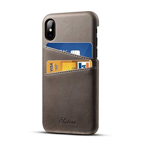 Pierre Cardin Case iPhone X iPhone XS Leder Hülle mit Kartenhalter, Airert Prämie Jahrgang Brieftasche, Ultra Schlank Zurück Abdeckung kompatibel Apple iPhone X/XS - Grau Iphone Executive Leather Case
