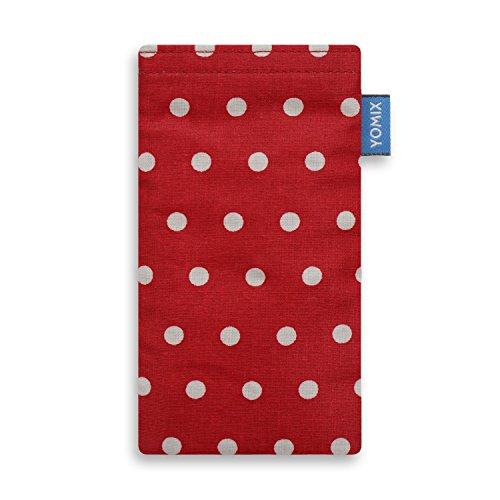 YOMIX Handytasche | Tasche | Hülle MAJA blau für Apple iPhone 5 / 5s / SE aus Cordstoff mit genialer Display-Reinigungsfunktion durch Microfaserinnenfutter GUNILLA rot