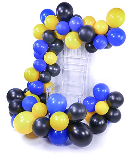 PuTwo Batman Party Luftballons 80 Stück Gelb Luftballons Luftballons Blau Luftballons Schwarz, Luftballons Matt Helium Luftballons für Batman Party, Pokemon Party, Minions Party, Despicable Me Party