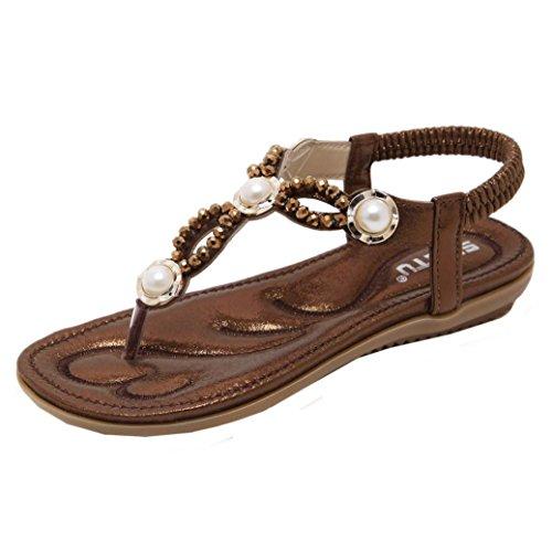 Zehentrenner, FEITONG Damen Sandalen Zehentrenner Bohemian Perlen Flach Sandaletten Sommer Strand Schuhe Mädchen Peep-Toe Outdoor Schuhe (EU 39// Label CN Größe 40, Kaffee) (Leder Pumps Chunky)