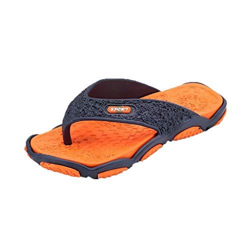 Xmiral Infradito Pantofole Uomo Primavera e l'estate marea trascinando pantofole di grandi dimensioni da uomo moda scarpe spiaggia casual massaggio infradito bagno 40 EU arancia