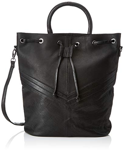 PIECES Damen Pcbella Leather Tighten Bag Rucksackhandtasche, Schwarz (Black), 12x31x24 cm