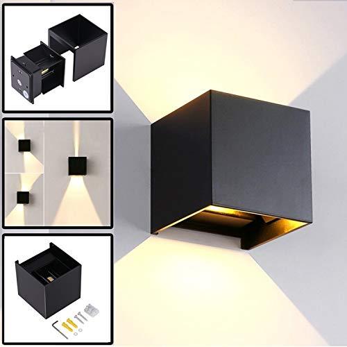 12W LED Apliques De Pared Modernos En Acero, Lamparas Exterior Impermeable IP65 Lamparas para Dormitorios, Salon, Comedor Jardín De Lluminación de Exterior y Interior (Negro)