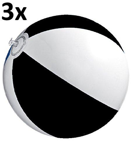 R5H1 Wasserball Strandball Durchmesser Ø ca. 48cm Strandspielzeug (3x Schwarz-Weiss)