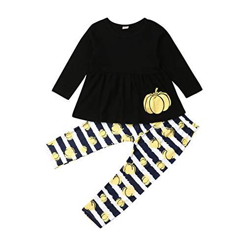 Qinngsha 2019 Kinder Kleinkind Baby Mädchen niedliches Kürbiskleid Langarm T-Shirt Tops + Hose, Outfit, Herbstkleidung, 2 Stück Gr. 80 cm, Schwarz (Kleinkind-halloween-kostüme 2019 Einzigartige)