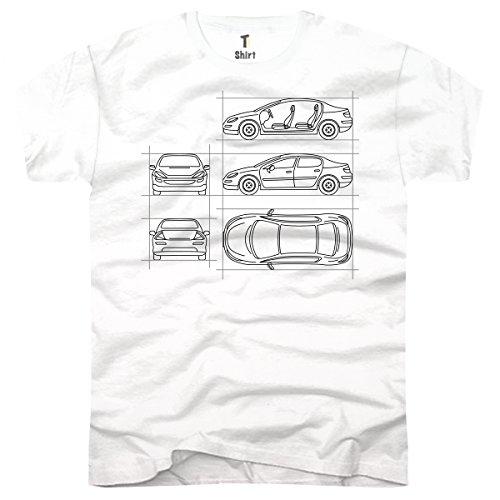 TEE-Shirt, Herren T-Shirt mit Aufdruck . Coole Motive. T-Shirt mit Auto - Zeichnungen Druck. Weiß