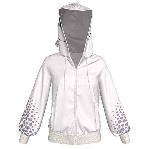 Xcoser Light Fury Kapuzen pullover Hoodie Weiß Jacke Zip Sweatshirt Film Cosplay Kostüm Damen Mantel für Erwachsene Kleidung - Erwachsenen-kleidung Für Frauen