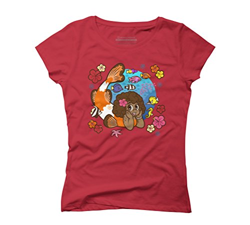 Pacific Mermaid Women's Graphic T-Shirt - Design By Humans Red
