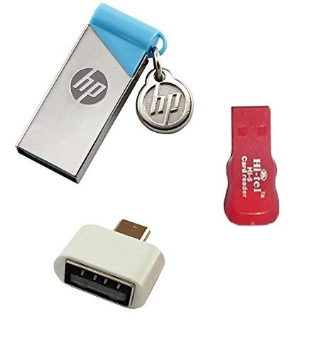 HP V215B 64 GB Metal Pendrive with OTG Adapter and Card Reader