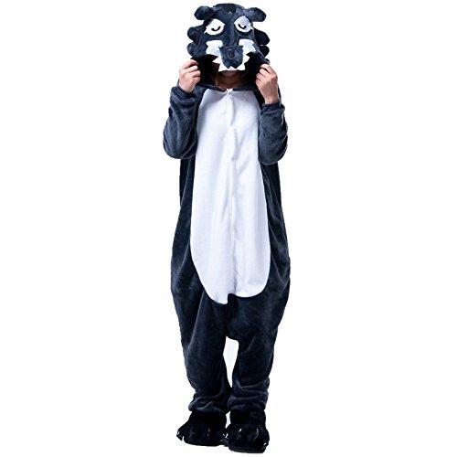 Kostüm Pyjama Erwachsene Tier Jumpsuits Flanell Nachtwäsche Karnevals Cosplay kostüme (XL, Wolf) ()