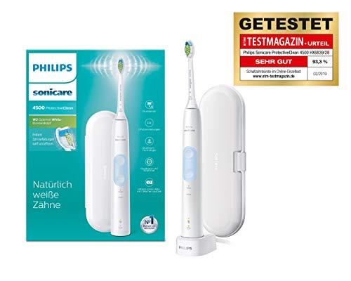 Philips Sonicare ProtectiveClean 4500 elektrische Zahnbürste HX6839/28 - Schallzahnbürste mit 2 Putzprogrammen, Andruckkontrolle, Timer & Reise-Etui - Weiß - Jahr Elektronische 1 Zahnbürste