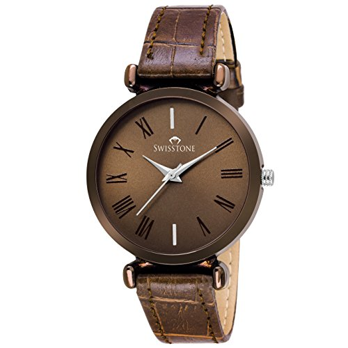SWISSTONE Brown Leather Strap Analogue Display Women s Wrist Watch af0d72c49be65