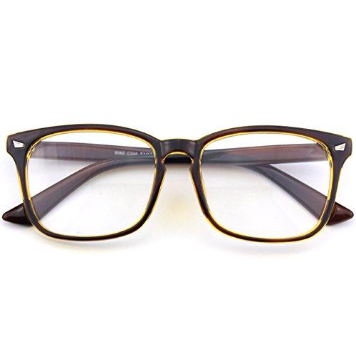 CN92 Klassische Nerdbrille rund Keyhole 40er 50er Jahre Pantobrille Vintage Look clear lens, A Braun Gold, 53