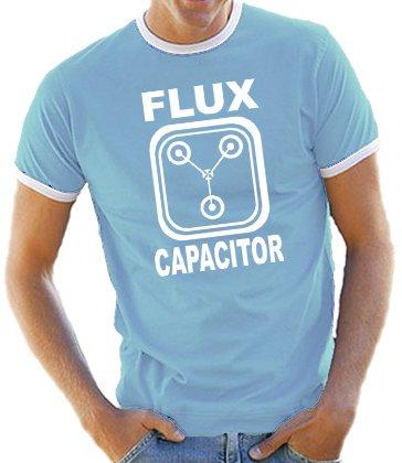 Touchlines - Maglietta, varie taglie, motivo: flux capacitor, Ritorno al futuro, colori assortiti - Celeste/bianco