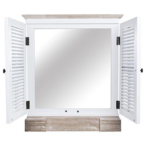 Spiegel BEACH HOUSE weiß braun mit Lamellentüren Fensterläden Fenster