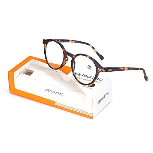 Zenottic Gafas de Lectura de Bloqueo de Luz Azul Lentes Antirreflejos Gafas Retro de Ligero Marco Redondo para Hombres y Mujeres (TORTUGA, 2.00x)