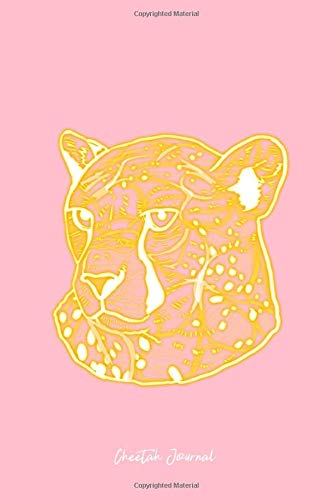 Cheetah Journal: Lined Journal - Shining Cheetah Head Abstract Art Big Cat Wild Animals Gift - Pink Ruled Diary, Prayer, Gratitude, Writing, Travel, ... For Men Women - 6x9 120 pages - Ivory Paper -