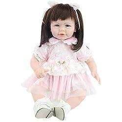 Lindo Realista Silicona Reborn Niños De Pelo Largo Bebé Recién Nacido Muñeca para Adopción Vestido Rosa 52CM,A52CM