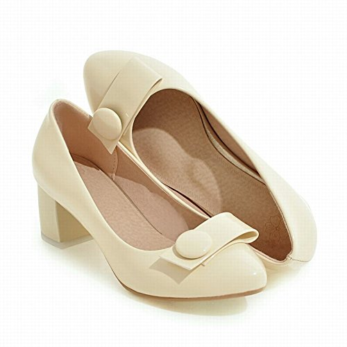 Mee Shoes Damen süß runde chunky heels Pumps Beige
