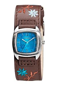 Kahuna Women's Quartz Watch with Blue Dial Analogue Display and Brown Leather Cuff KLS-0225L
