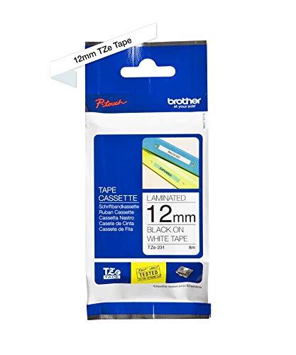 Brother TZe-231 P-touch Schriftband (12mm breit, 8m lang, u.a. für Brother PT-H100LB/R, -H105, -E100/VP, -D200/BW/VP, -D210/VP, laminiert) schwarz auf weiß