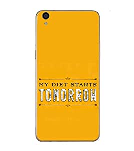 PrintVisa Designer Back Case Cover for Oppo R9 Plus (Typography My Diet Starts Tomorrow Yellow)