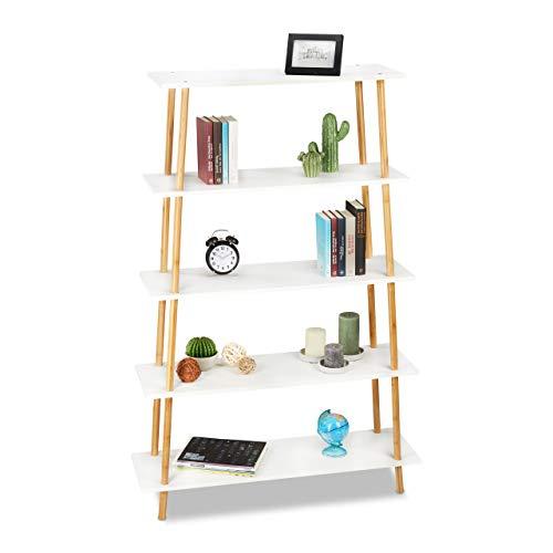 Relaxdays Bücherregal, 5 Ablagen, für Bücher, CDs, DVDs, Bambus, MDF, Standregal HxBxT: 149,5 x 100 x 30 cm, Natur/weiß -