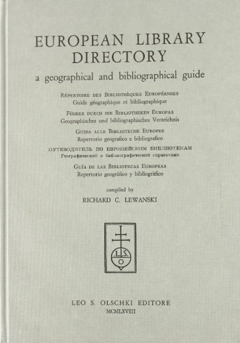 European library directory. A geographical and bibliographical guide