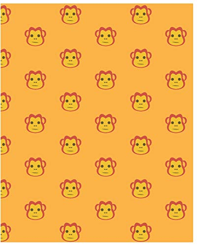 Notebook: Cute Monkey Notebook/Journal for Adults/Children Animals Lovers to Writing (8x10 Inch. 20.32x25.4 cm.) Wide Ruled Lined Paper 120 Blank Pages (YELLOW&ORANGE&RED Pattern)