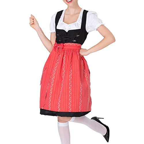 Amcool Bierfest Damen Dirndl Set - Frauen Vintage Beer Festival Bayerische Kurzarm Kellnerin Cosplay Kostüm Kleid Bier Midi Trachtenkleid Kurzarm Dirndlbluse Oktoberfest Bierfest Karneval (Berühmte Cosplay Kostüme)