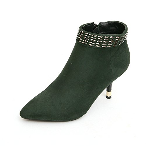 Khskx-con Zapatos De Gamuza Pura Con Punta Estrecha Agradable Atmósfera Delgada Con Botas Ladies 35 Verde Treinta Y Seis