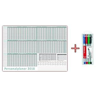 Urlaubsplaner / Personalplaner 2018 nass abwischbar inkl. Stifteset im DIN B2 Format (700 x 500 mm) für 22 Mitarbeiter - Jan 2018 bis März 2019, mit Schulferien (gerollt!)