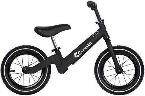 """Clamaro \'Roadstar\' 12\"""" Kinder Laufrad ab 1 Jahr für Jungen und Mädchen, Balance Lauflernrad mit leichtem 3,6 kg Magnesium Aluminium Rahmen, Luftreifen und mitwachsendem Sitz und Lenker, schwarz"""