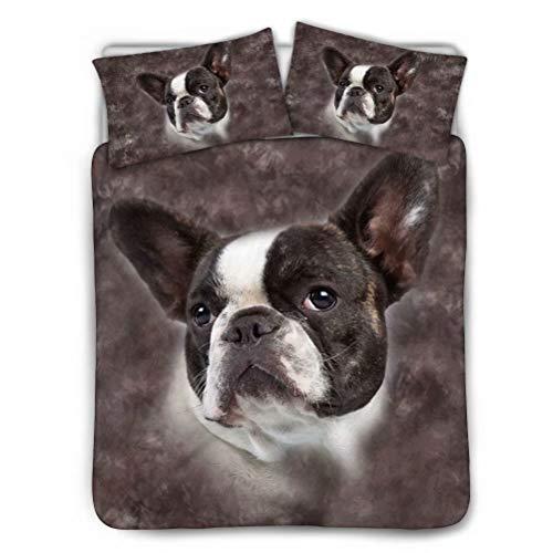 t Lustige Boston Hund Druck Non Lron Quilt Bettwäsche-Sets mit Kissenbezügen Bett 3-teiliges Schlafzimmer Dekor für Herren Junge Kinder Full/Queen Black Futter-Reißverschluss ()