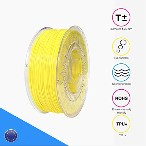 EOLAS Filamento flexible 3D 100% TPU+ 1.75mm, Made in Spain, Food safe, Toys safe Certified (Amarillo, 250 gr)