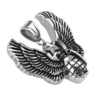 Granata con stella e le ali ciondolo collana in argento (Ciondolo Charm in acciaio chirurgico donna uomo