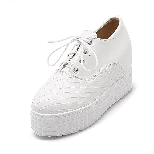 AllhqFashion Femme Rond à Talon Haut Lacet Couleur Unie Chaussures Légeres Blanc