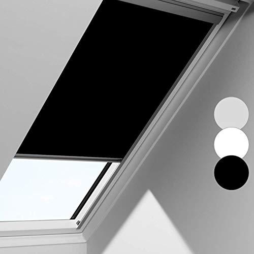 Schwarz Verdunkelungsrollo S08 Rollo für VELUX Dachfenster, 100% Verdunkelung, mit Seitenschienen in Silber, 97.3 * 116cm