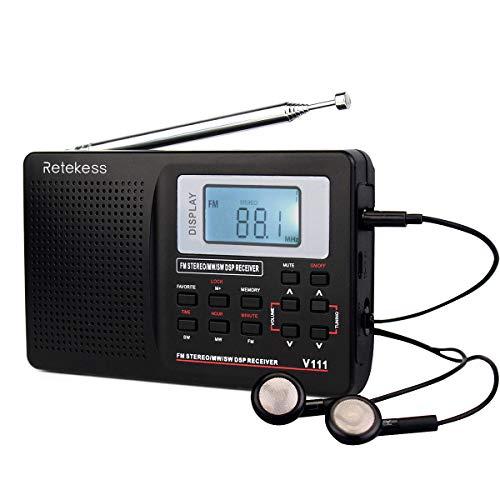 res Radio AM/FM/SW DSP Kurzwellenradio Batteriebetriebenes World Band Radio Tasche Reise Transistor Radio Stereoempfänger mit Digitalwecker und Sleep Timer (Schwarz) ()