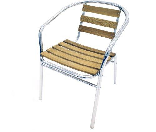 Ash Aluminium Bistro Set, Garden Set - 4 x Ash & Aluminium Chairs & 1 Ash & Aluminium Table
