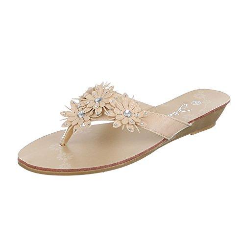 design toe Sandaletten Beige Zehentrenner Schuhe Peep Damen Ital Sandalen Hqwnt6X1n