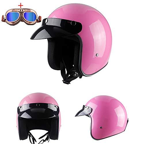 Motor Open Face Helmet Custom Cafe Racer Lederen Protezione Antinfortunistica Mezzo Casco 3/4 Leggero Four Seasons Occhiali Traspiranti gratuiti,M