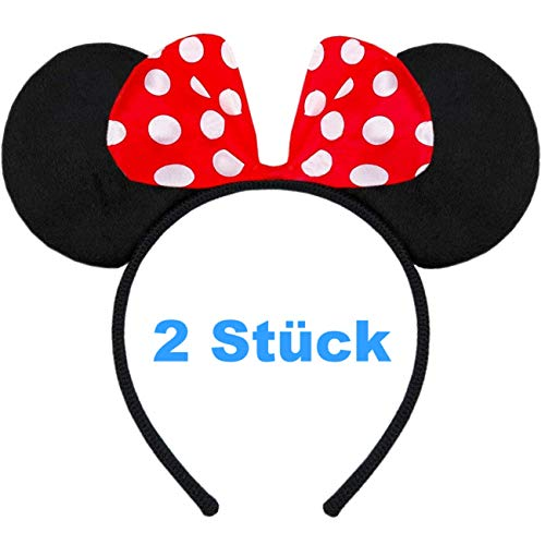 Hatstar 2 Stück | Haarreifen mit Maus Ohren | Mouse Ears in schwarz mit roter Schleife und weißen Punkten für Kinder und Erwachsene (Maus Ohren rot | 2 Stück)