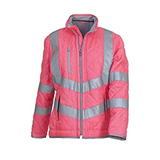 absab ltd Yoko Men's Hi-Vis Kensington Fleece Lined Workwear Jacket New (S, Pink)